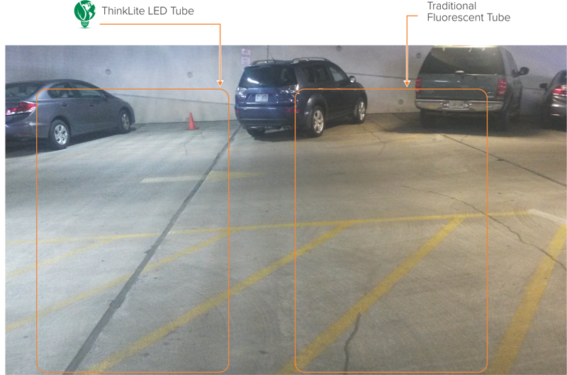 Parking garage thinklite llc for Tube led garage